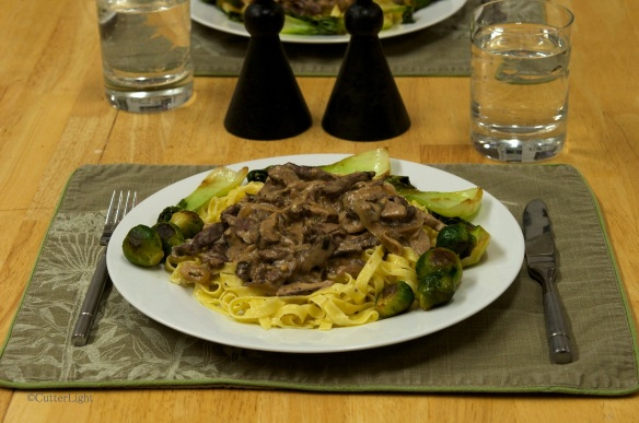 Caribou Stroganoff on homemade fettuccine_n
