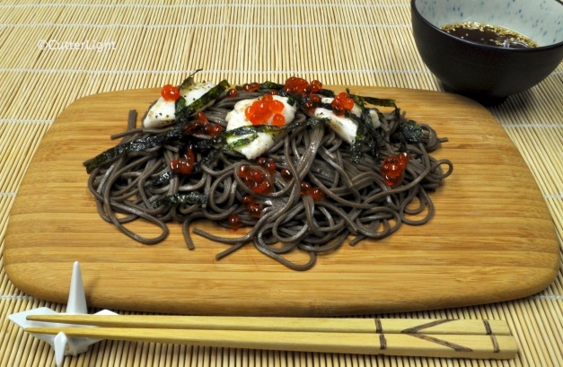 Buckwheat soba w seared scallops & ikura_n