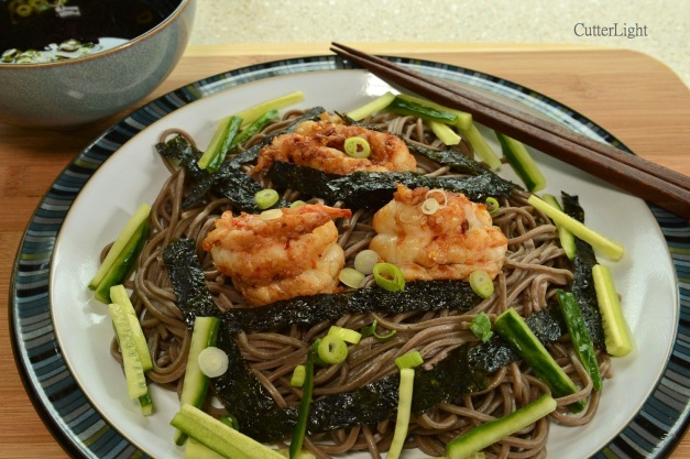 spot prawns on soba n
