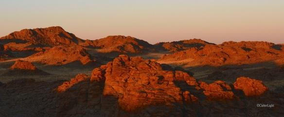 red rocks at sunset n
