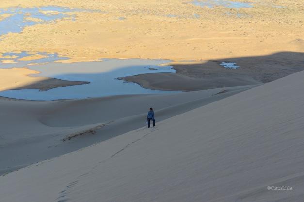 barbra climbing dunes n