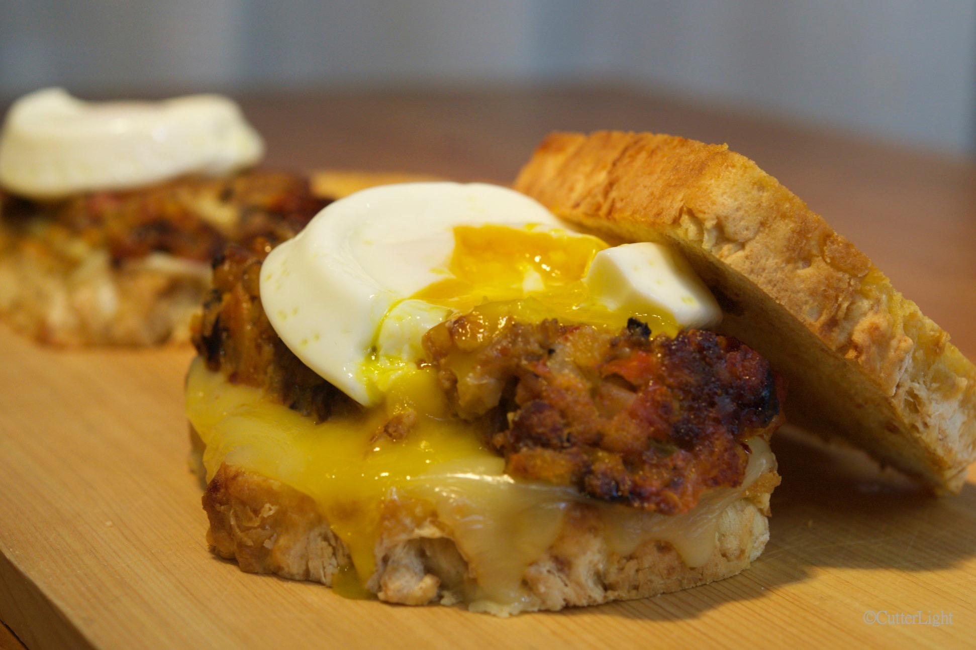 Meatloaf Sandwich Poached Egg N