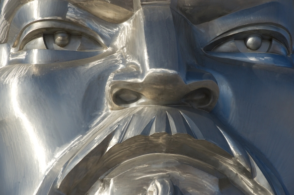 Chinggis statue face close n