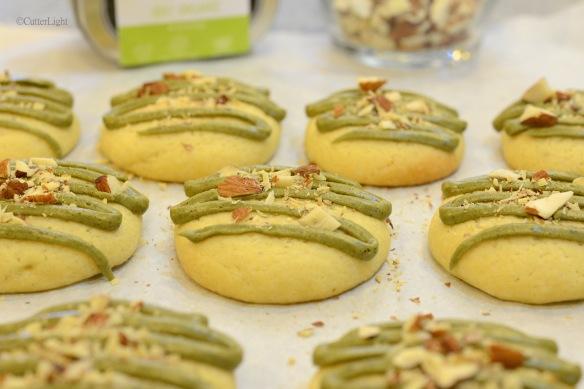 matcha almond tea butter cookies wide n