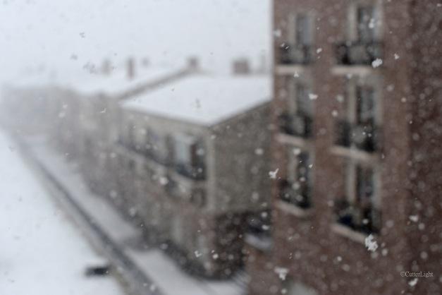 UB apt row snowy day b n