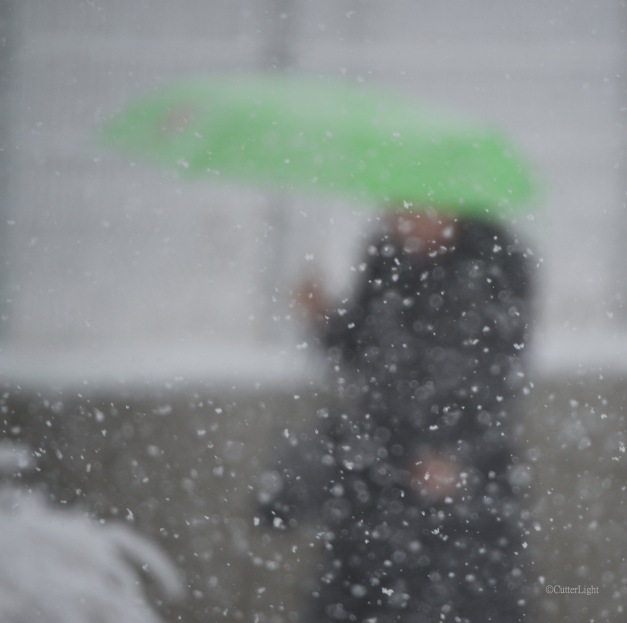woman w green umbrella snowy day n