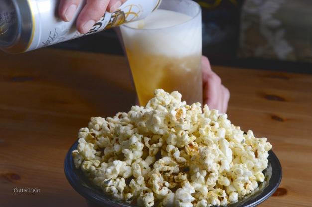 popcorn n pouring beer n