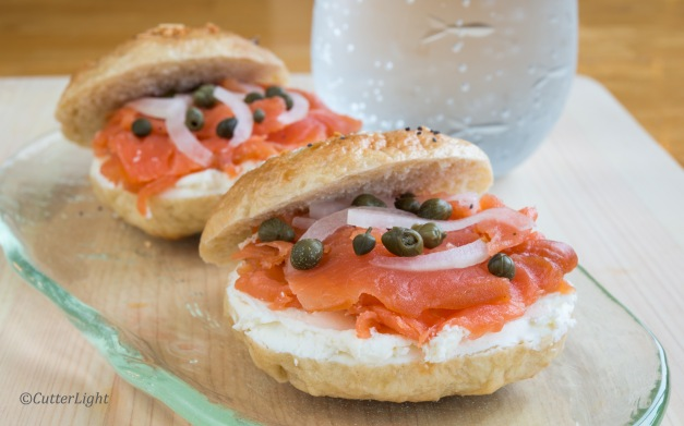 homemade lox and bagels