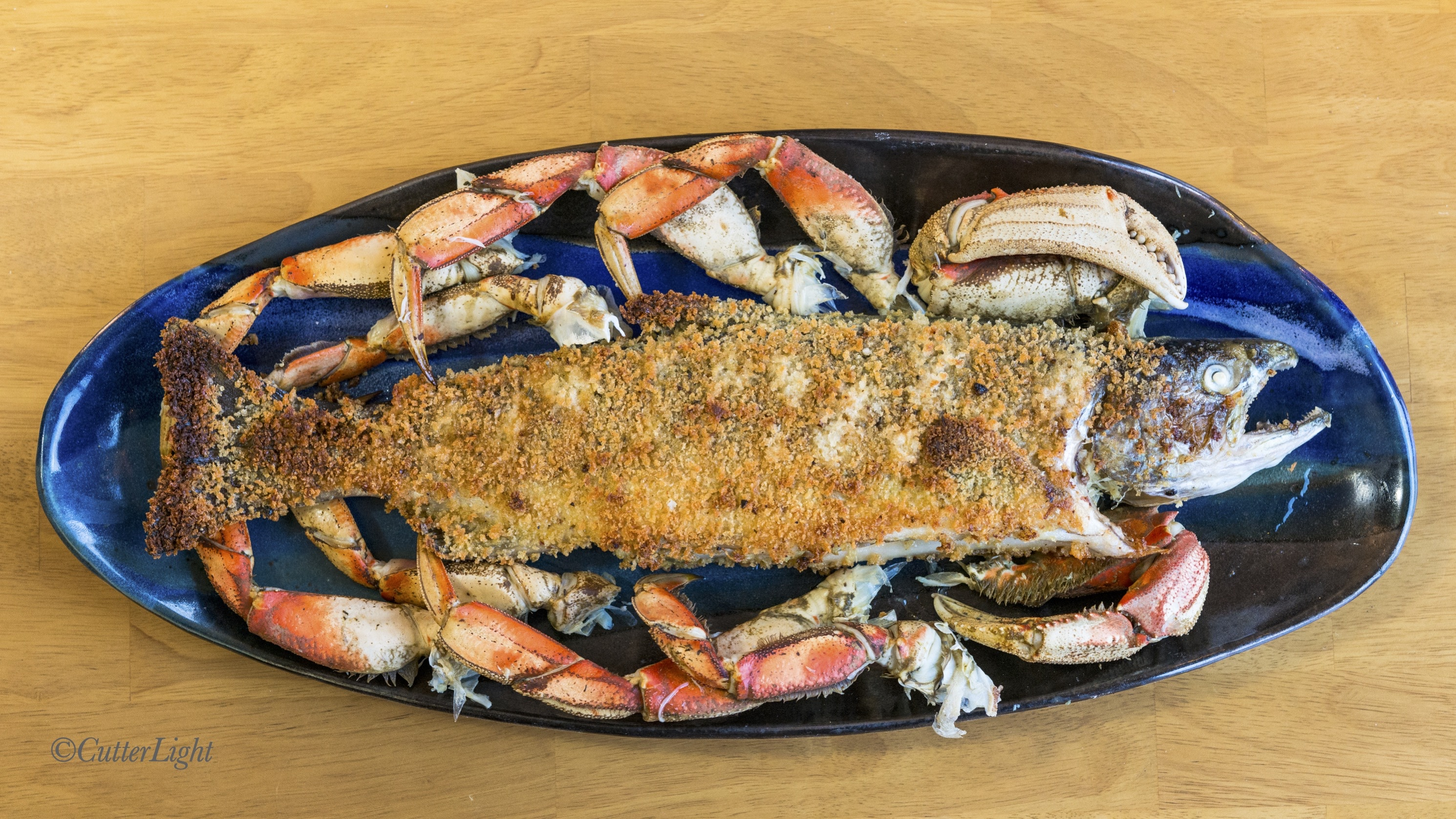 panko crusted salmon stuffed with Dungeness crab