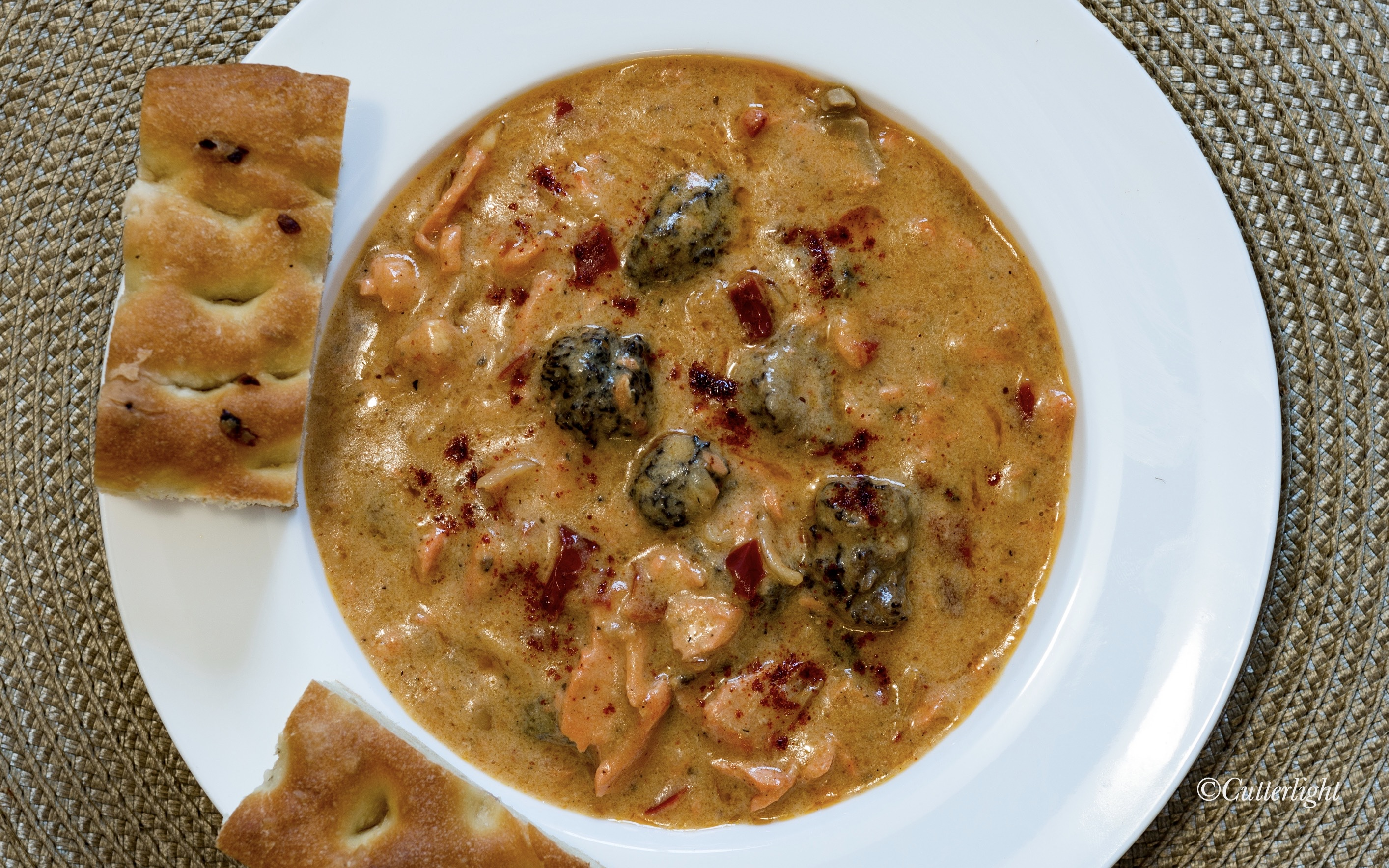 Salmon Cheddar Bisque with Morel Mushrooms