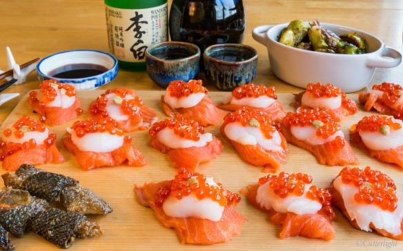 Alaska salmon scallop ikura sashimi